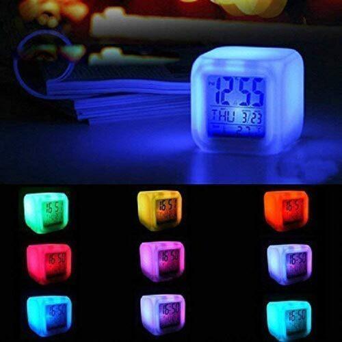 Plastic Digital Alarm Clock with Automatic 7 Colour Changing LED Date Time Temperature Digital Alarm Clock Multicolour 2