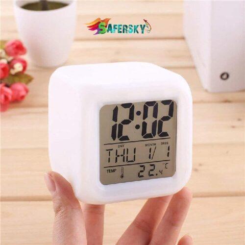 Plastic Digital Alarm Clock with Automatic 7 Colour Changing LED Date Time Temperature Digital Alarm Clock Multicolour 3
