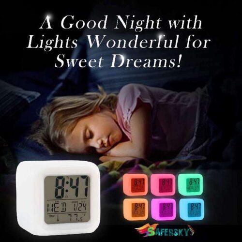 Plastic Digital Alarm Clock with Automatic 7 Colour Changing LED Date Time Temperature Digital Alarm Clock Multicolour 5