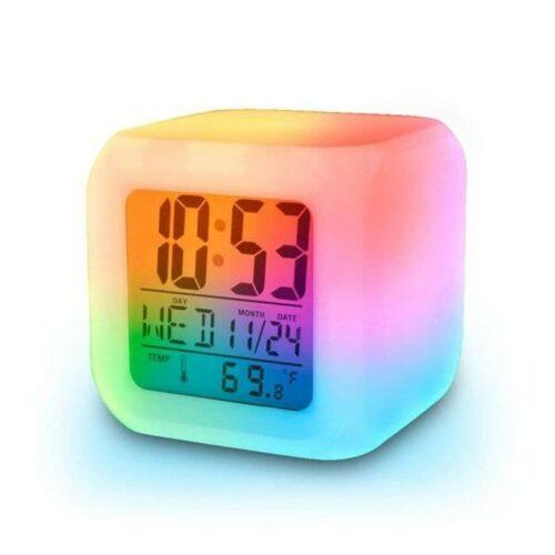 Plastic Digital Alarm Clock with Automatic 7 Colour Changing LED, Date, Time, Temperature Digital Alarm Clock (Multicolour)