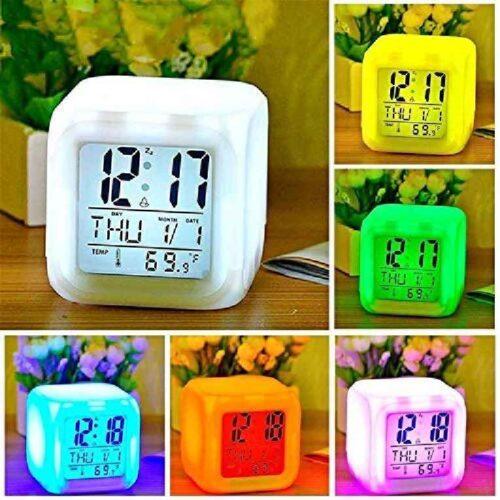 Plastic Digital Alarm Clock with Automatic 7 Colour Changing LED Date Time Temperature Digital Alarm Clock Multicolour 7