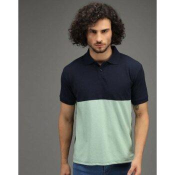Poly Cotton Color Block Half Sleeves Men's Polo T-Shirt