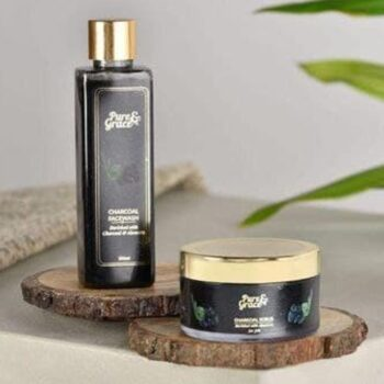 Pure & Grace Activated Charcoal Face wash & Scrub Kit (Charcoal Facewash & Charcoal Scrub)