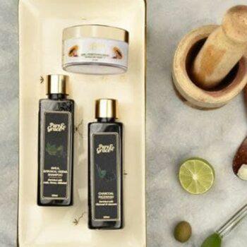 Pure & Grace Essential Travel Kit (Charcoal facewash, Skin Brightening Cream, Amla, shikakai, henna shampoo)