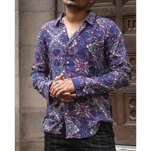 Purple Mix Print Full Sleeves Shirt