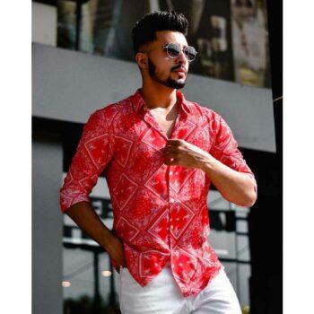 Red Mix Paisley Print Full Sleeves Shirt