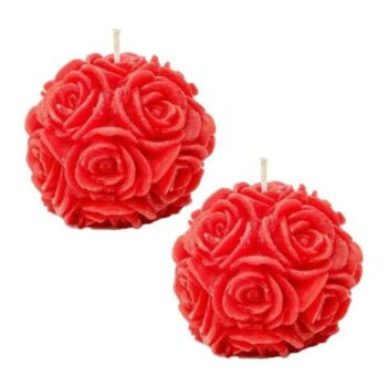 Rose Ball Decorative Scented Designer Smokeless Candle (Pack of 2)