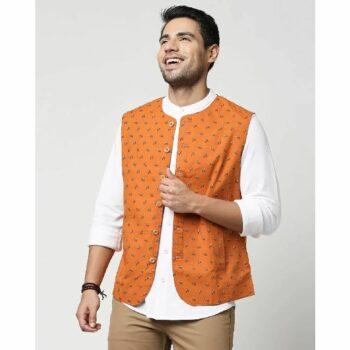 Rust Orange Men's Printed Waist Coat Waist Coat