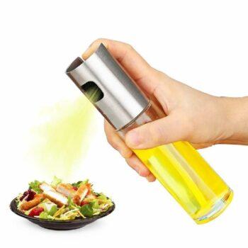 Stainless Steel Glass Oil Spray Bottle Vinegar Bottle Oil Dispenser for Cooking, Salad, BBQ, Kitchen Baking, Roasting