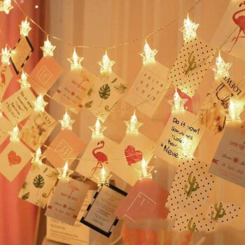 Star Shape Photo Clip String Lights 20 LED Star Shape Wall String Light for Diwali Party Home Decor Festivals Lights for Valentine Day Decoration for Hanging Photos,Romantic Mood Light - Warm White