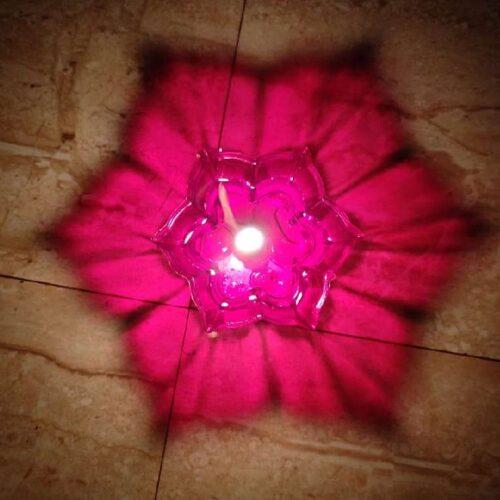 Transparent Multicolor 3D Reflection Diya Panti Set Plastic Reusable Deepawali Diya Deepak Fancy Diwali Diya for Pooja Puja Room Home Decoration Gifting Set of 12 Multi Design Shape 1
