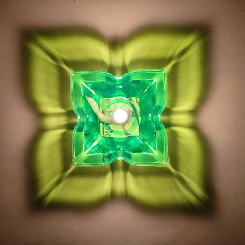 Transparent Multicolor 3D Reflection Diya Panti Set Plastic Reusable Deepawali Diya Deepak Fancy Diwali Diya for Pooja Puja Room Home Decoration Gifting Set of 12 Multi Design Shape 2