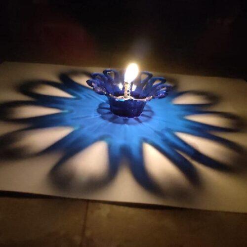 Transparent Multicolor 3D Reflection Diya Panti Set Plastic Reusable Deepawali Diya Deepak Fancy Diwali Diya for Pooja Puja Room Home Decoration Gifting Set of 12 Multi Design Shape 4