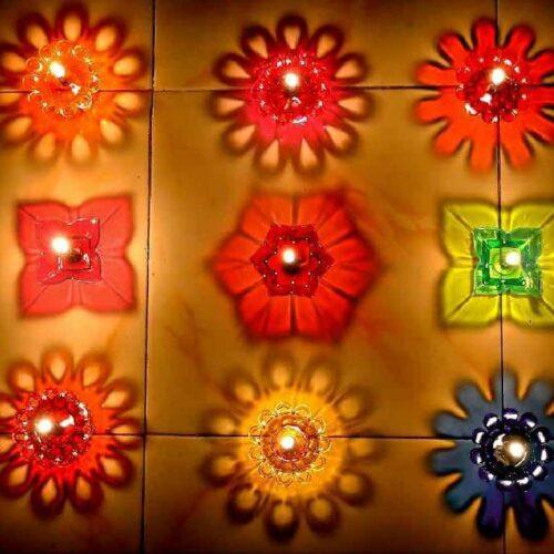 Transparent Multicolor 3D Reflection Diya Panti Set Plastic Reusable Deepawali Diya Deepak Fancy Diwali Diya for Pooja Puja Room Home Decoration Gifting Set of 12 Multi Design Shape