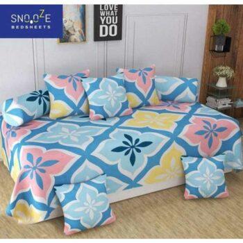 Trendy Poly Cotton 8 Pieces Diwan Set