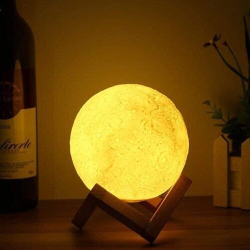 USB Rechargeable Moon Lamp Color Changing Sensor Touch Decoration Ball Night with Wooden Stand Lamps for Bedroom Night lamp Bedroom Lights for Table (12 cm)