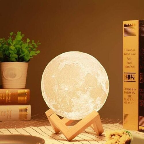 USB Rechargeable Moon Lamp Color Changing Sensor Touch Decoration Ball Night with Wooden Stand Lamps for Bedroom Night lamp Bedroom Lights for Table (15 cm)