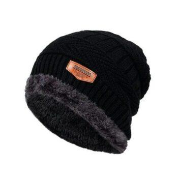 Unisex Faux Fur Solid Beanie Cap