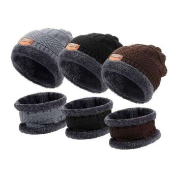 Unisex Wool Cap With Neck Muffler (Pack of 3)