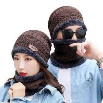 Unisex Wool Cap With Neck Muffler