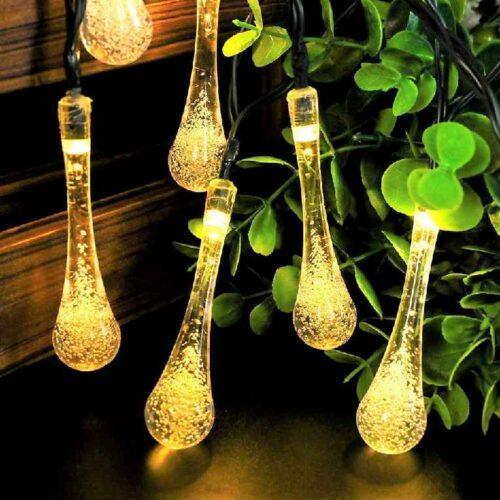 Water Drop String LED Lights Rain Drop Fairy LED Lights Decorative String Lights for Diwali Decoration Home Decoration Bedroom Decoration Birthday Celeberation Light 10 mtr 20 LED Warm White 1
