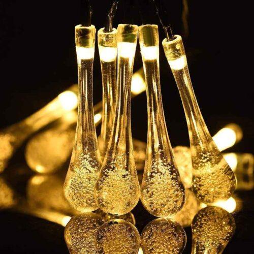 Water Drop String LED Lights Rain Drop Fairy LED Lights Decorative String Lights for Diwali Decoration Home Decoration Bedroom Decoration Birthday Celeberation Light 10 mtr 20 LED Warm White 4