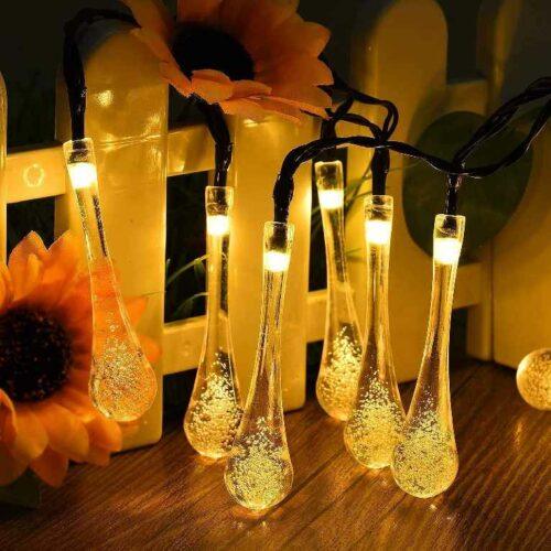 Water Drop String LED Lights Rain Drop Fairy LED Lights Decorative String Lights for Diwali Decoration Home Decoration Bedroom Decoration Birthday Celeberation Light 10 mtr 20 LED (Warm White)