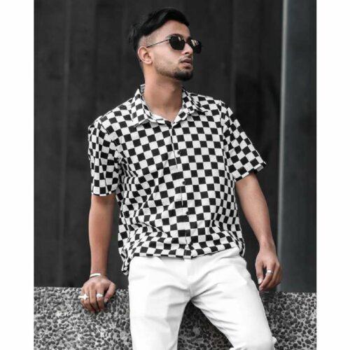 White And Black Check Print Half Sleeves Shirt