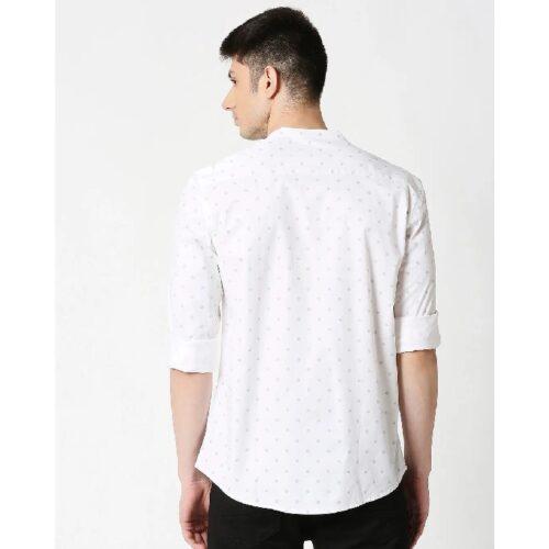 White Prnt Twill Lycra Print Shirt 1
