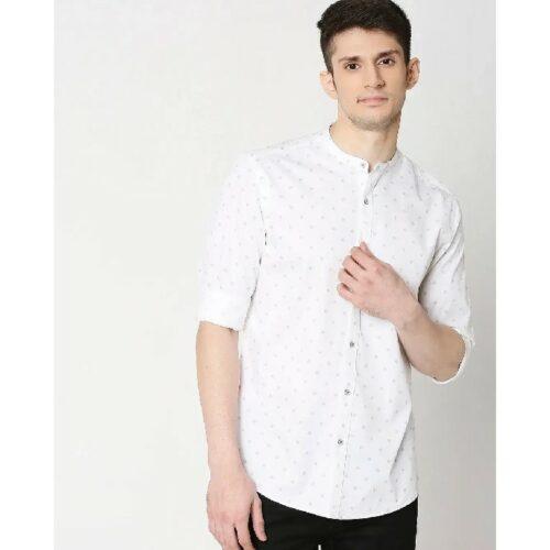 White Prnt Twill Lycra Print Shirt