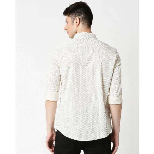 White Twill Lycra Print Shirt 1