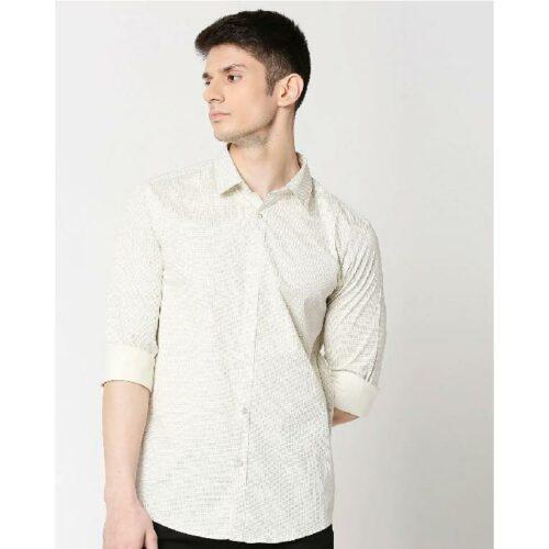 White Twill Lycra Print Shirt