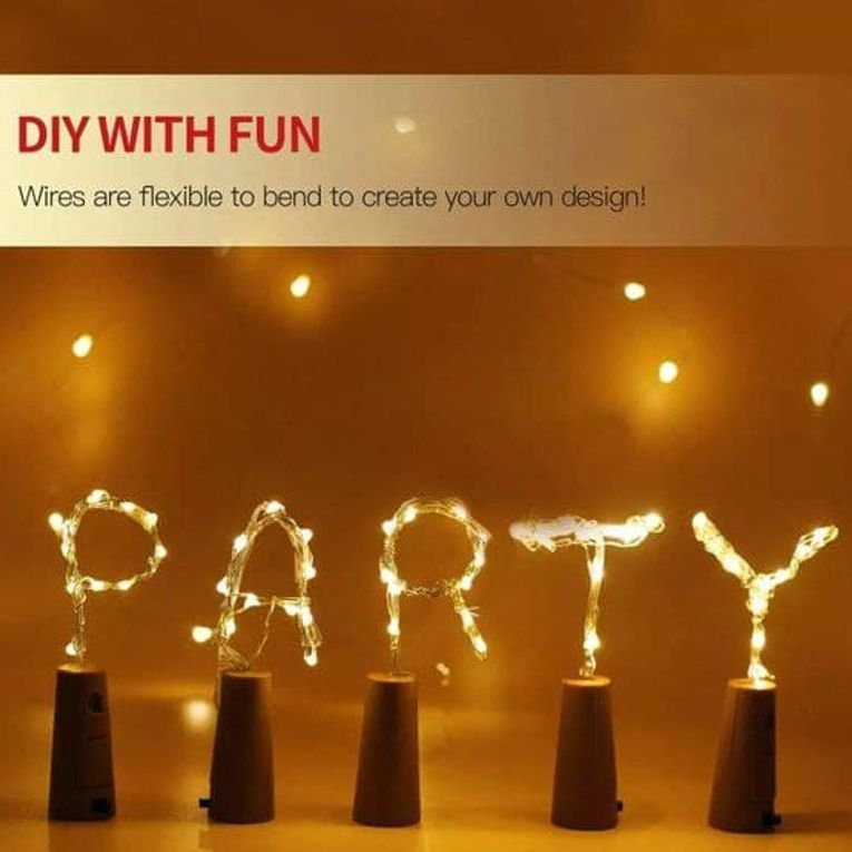 Wine Bottle Cork Fairy Lights Copper Wire String Battery Operated for Diwali Bedroom Decoration Warm White 10