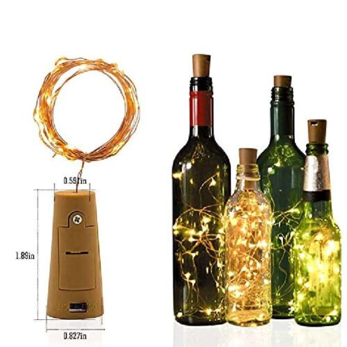 Wine Bottle Cork Fairy Lights Copper Wire String Battery Operated for Diwali Bedroom Decoration Warm White 3