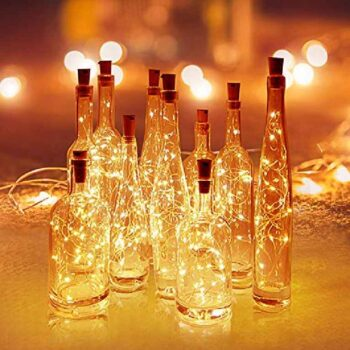 Wine Bottle Cork Fairy Lights Copper Wire String Battery Operated for Diwali, Bedroom Decoration (Warm White)