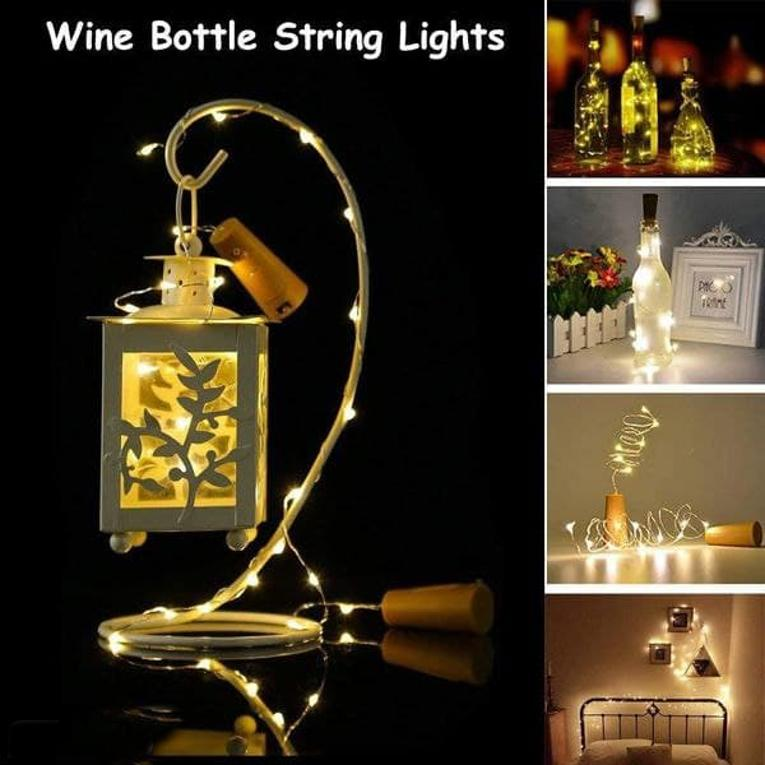 Wine Bottle Cork Fairy Lights Copper Wire String Battery Operated for Diwali Bedroom Decoration Warm White 5