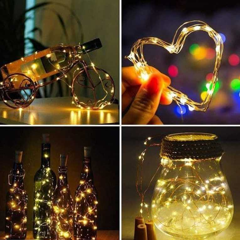 Wine Bottle Cork Fairy Lights Copper Wire String Battery Operated for Diwali Bedroom Decoration Warm White 6