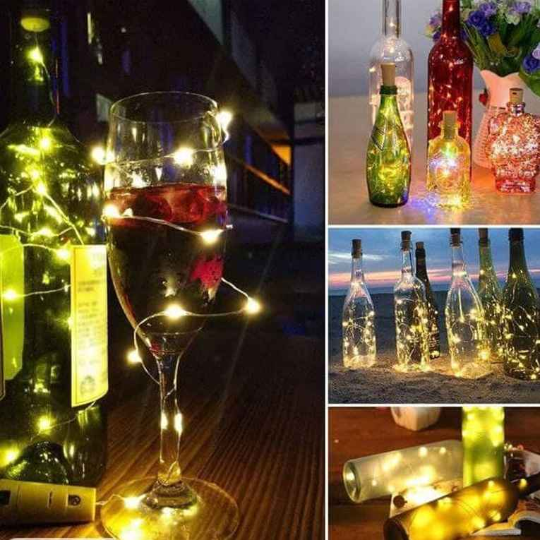 Wine Bottle Cork Fairy Lights Copper Wire String Battery Operated for Diwali Bedroom Decoration Warm White 7