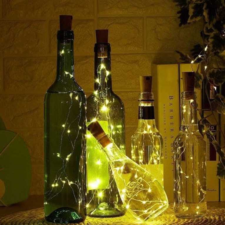 Wine Bottle Cork Fairy Lights Copper Wire String Battery Operated for Diwali Bedroom Decoration Warm White 8