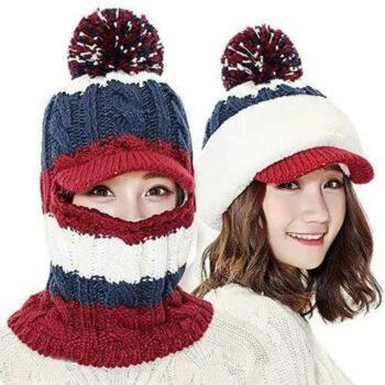 Women's Acrylic Hat Scarf Winter Beanie