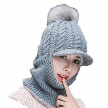 Women's Woolen Solid Beanie Cap