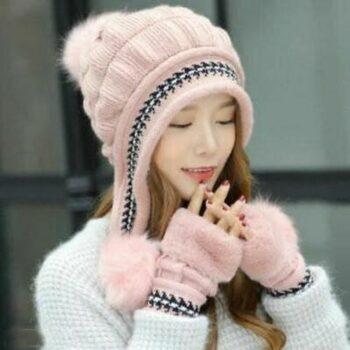 Women's Woolen Solid Trio Pom Pom Cap With Hand Gloves