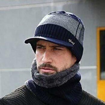 Woollen Fleece Knitted Beanie Winter Cap with Muffler