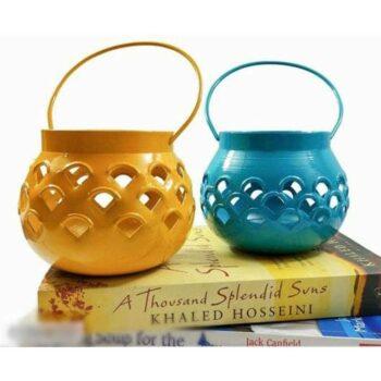 Yellow & Blue Matki Tealight Candle Holder (Set of 2)