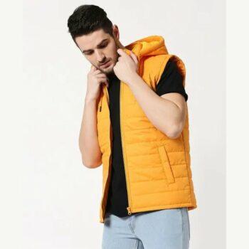 Yellow Plain Sleeveless Puffer Jacket with Detachable Hood